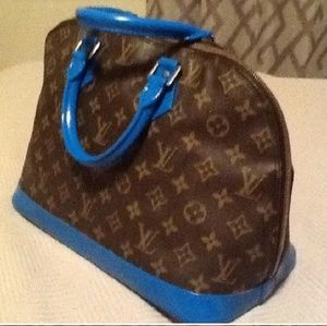 Auth Louis Vuitton painted blue alma bag